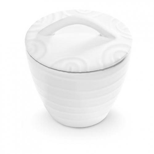 """Gmundner Keramik """"Weissgeflammt"""" Zuckerdose Gourmet Ø 9 cm"""