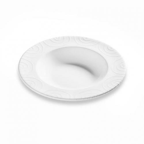 "Gmundner Keramik ""Weissgeflammt"" Suppenteller Gourmet Ø 24cm"