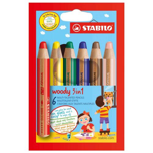 """Stabilo """"Woody 3 in 1"""" Buntstift, Wasserfarbe & Wachsmalkreide in Einem, 6er"""