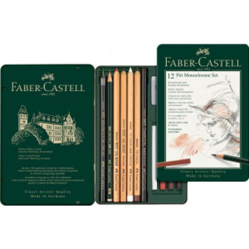 FABER CASTELL 112975 - Pitt Monochrome Set, 12er Metalletui