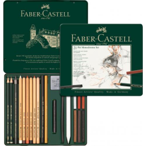 FABER CASTELL 112976 - Pitt Monochrome Set, 21er Metalletui
