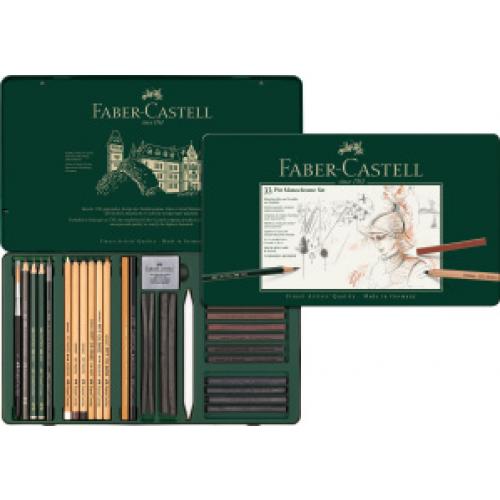 FABER CASTELL 112977 - Pitt Monochrome Set, 33er Metalletui
