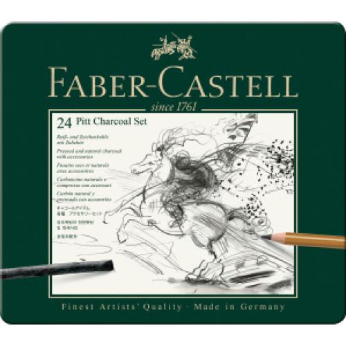 FABER CASTELL 112978 - Pitt Charcoal Set, 24er Metalletui