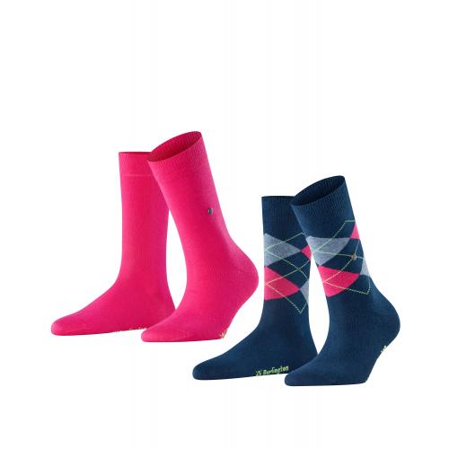 "BURLINGTON Da. Socken ""Everyday Mix"", 2er Pack (Marine Navy/Gloss Pink)"