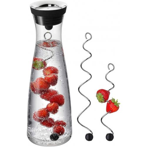 WMF Wasserkaraffe 1,0 l schwarz Basic mit 2 Fruchtspießen