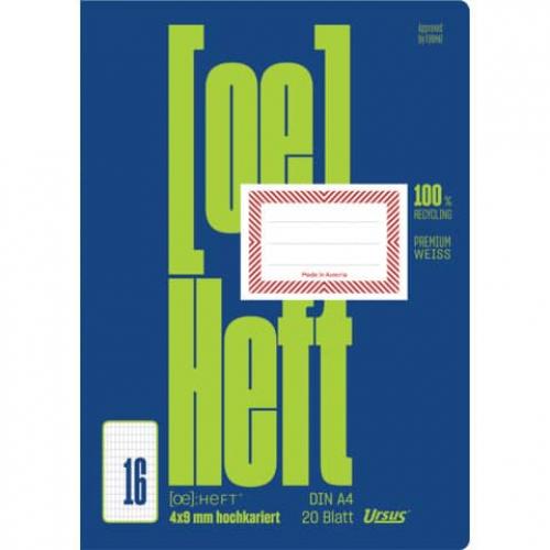 URSUS Heft A4, hochkariert, ohne Rahmen, 20 Bl.