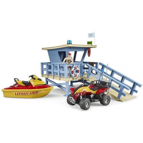 BRUDER bworld Life Guard Station mit Quad und Personal Water Craft