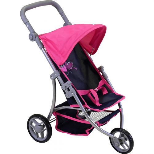 KNORR TOYS  Puppenbuggy Jogger Lio (flying heartsblue pink)