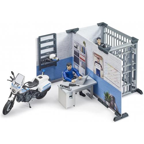 BRUDER bworld Polizeistation mit Polizeimotorrad