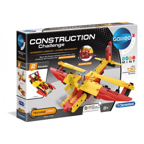 CLEMENTONI Construction Challenge - Wasserflugzeug + Hydro-Rennboot