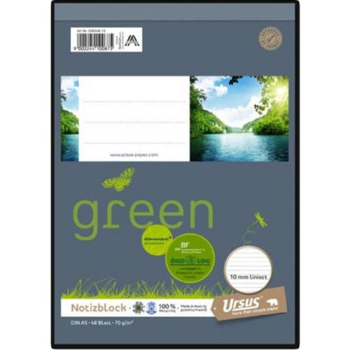 Ursus green Notizblock, liniert, A5, 70 g/m², 48 Blatt