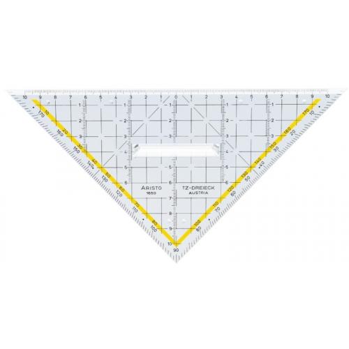 ARISTO TZ-Dreieck 22.5 cm, mit Griff, Facette an Hypotenuse, Tuschenoppen