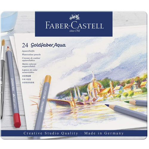FABER CASTELL 114624 - Goldfaber Aqua Aquarellstift, 24er Metalletui