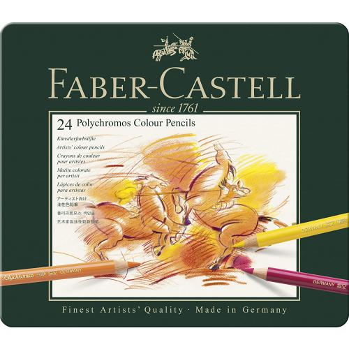 FABER CASTELL 110024 - Polychromos Farbstift, 24er Metalletui