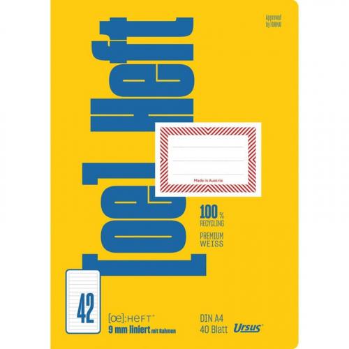 URSUS [OE] Heft FX42 / OE42 A4 40 Blatt 9mm liniert mit Rahmen
