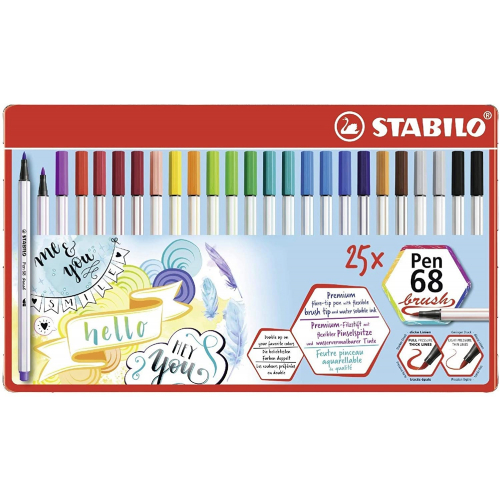 STABILO Pen 68 brush, 25er Metalletui