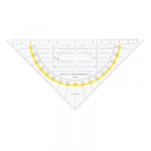 ARISTO AR1553 Geodreieck® 16 cm, mit Griff, Facette, Tuschenoppen