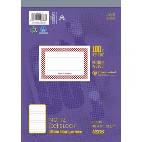 URSUS [OE] Notizblock A5 48 Blatt 10mm liniert