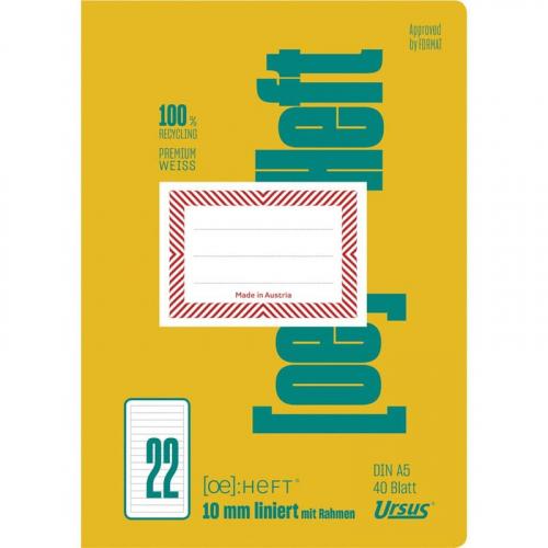 URSUS [OE] Heft FX22 / OE22 A5 40 Blatt 10mm liniert mit Rahmen