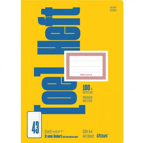 URSUS [OE] Heft FX43 / OE43 A4 40 Blatt 9mm liniert mit KR
