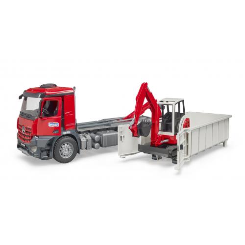 BRUDER MB Arocs LKW mit Abrollcontainer und Schaeff Minibagger