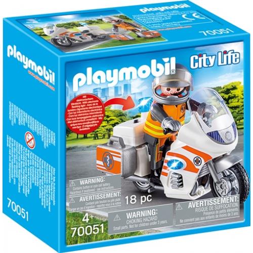 PLAYMOBIL 70051 - Notarzt-Motorrad mit Blinklicht