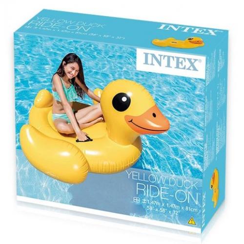INTEX Schwimmtier Ente, Aufblastier Ente Kinder Badeinsel mit Griffen