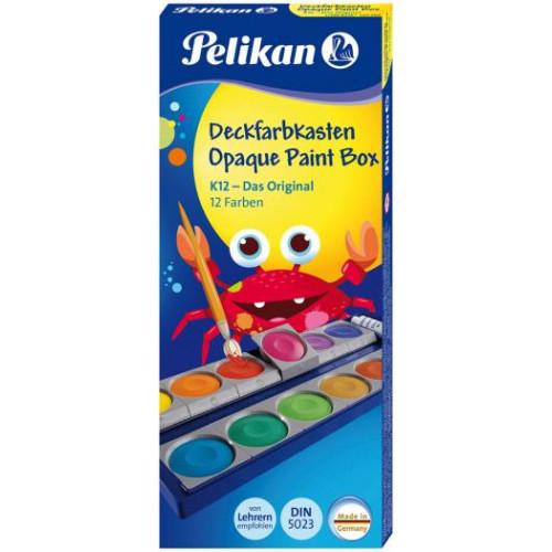 "Pelikan 720250 Deckfarbkasten ""K12"" - Das Original, 12 Farben inkl., 1 Deckweiß"