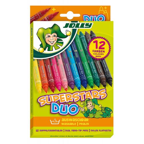 """Jolly Fasermaler, Filzstifte """"Superstars Duo"""", 12er"""