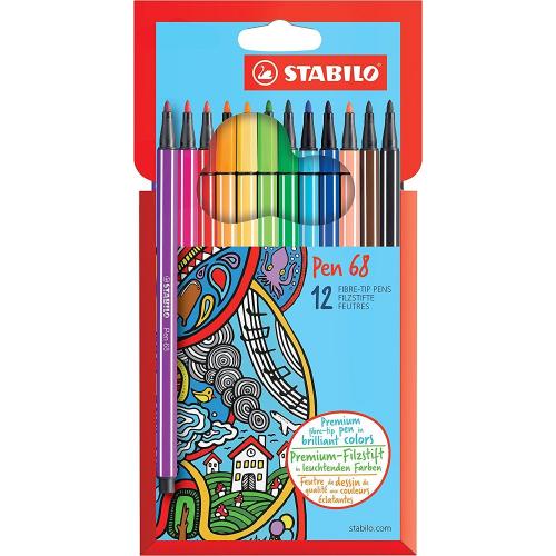 """Stabilo 6812-7 """"Pen 68"""" Filzstifte, 12 Farben"""