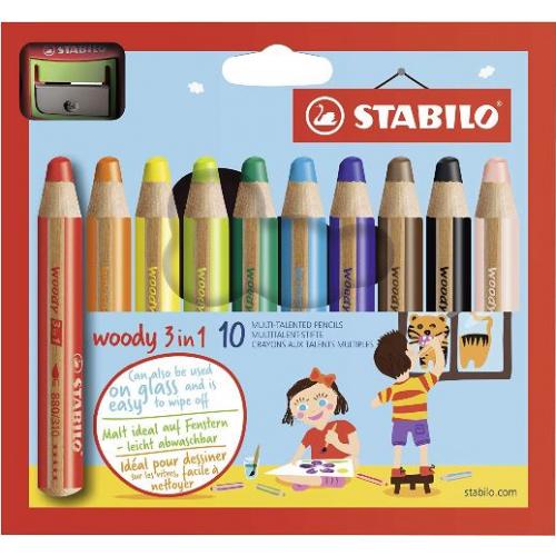 """Stabilo """"Woody 3 in 1"""" Buntstift, Wasserfarbe & Wachsmalkreide in Einem, 10er"""