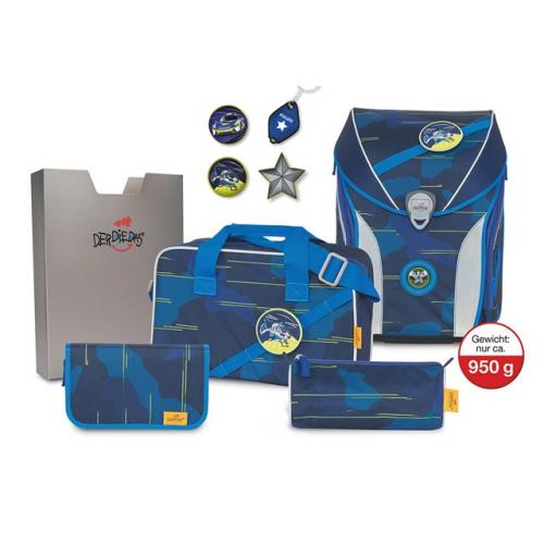 DERDIEDAS Schulranzen Set Ergoflex Max Limited Edition (blue laser)