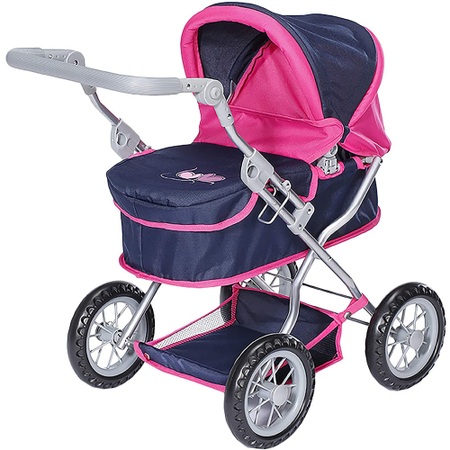"""KNORR TOYS  Puppenwagen """"First"""" (flying hearts blue pink)"""