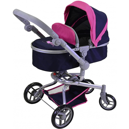 """KNORR TOYS  Puppenwagen """"Boonk"""" (flying hearts blue pink)"""