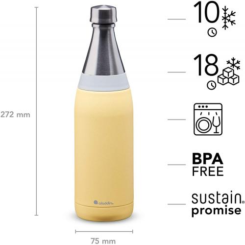 ALADDIN Fresco Thermavac isolierte Edelstahl-Trinkflasche, 0,6 Liter (gelb)