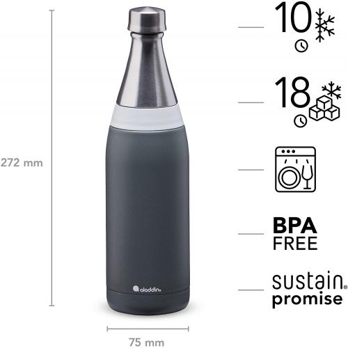 ALADDIN Fresco Thermavac isolierte Edelstahl-Trinkflasche, 0,6 Liter (grau)