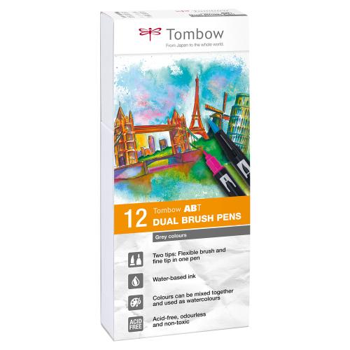 Tombow ABT Dual Brush Pens, 12er Set (grey colors)