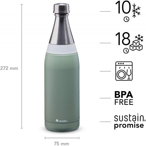 ALADDIN Fresco Thermavac isolierte Edelstahl-Trinkflasche, 0,6 Liter (grün)