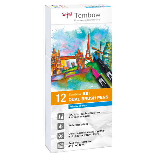 Tombow ABT Dual Brush Pens, 12er Set (primary colors)