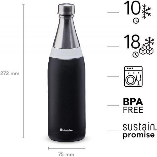 ALADDIN Fresco Thermavac isolierte Edelstahl-Trinkflasche, 0,6 Liter (schwarz)